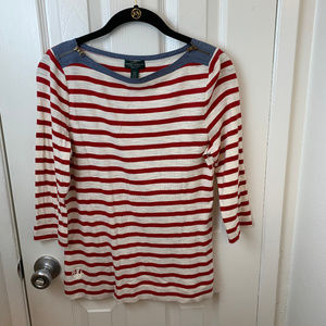 Ralph Lauren Red & White Striped Tee. M/P